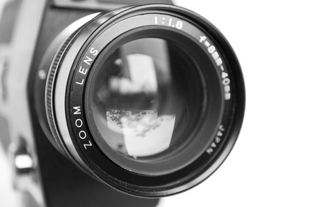 video camera: Camera lens isolated on white background