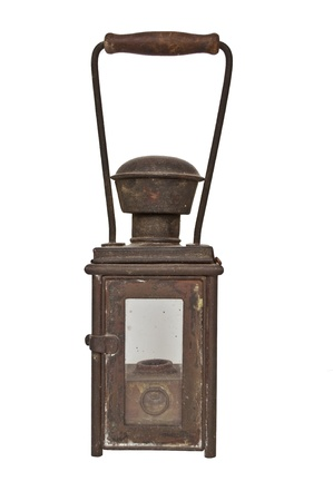 lit lamp: Antique gas lamp