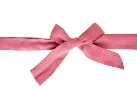 Pink bow isolated on white background with space for text