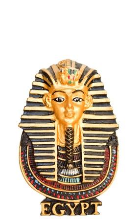 Egyptian golden pharaohs mask isolated on white - travel to Egypt concept  photo
