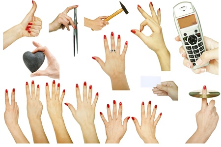 Collection of hand gestures with various concepts isolated on white background  photo