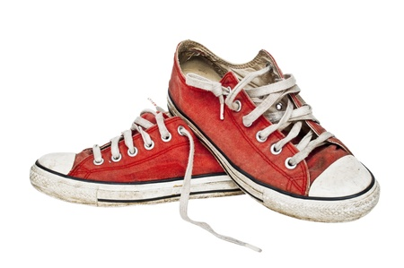 tennis shoe: Red old retro sneakers