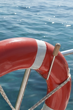 preserver: Life buoy attached to ship