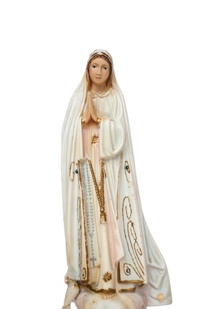 Virgin Mary statue isolated on white photo
