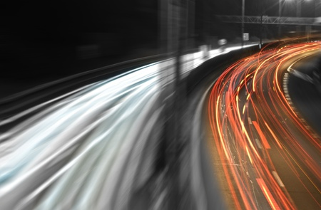 Urban night traffics view photo