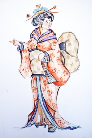 Japanese woman drawing photo