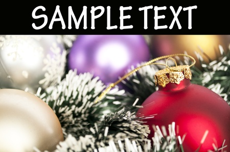 Christmas ornaments macro shot with space for your text photo