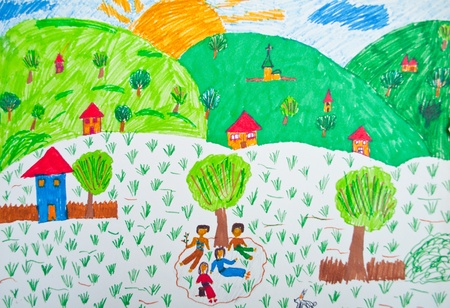 pencil and paper: Child drawing - Landscape