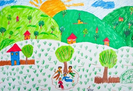 niños pintando: Dibujo infantil - Paisaje