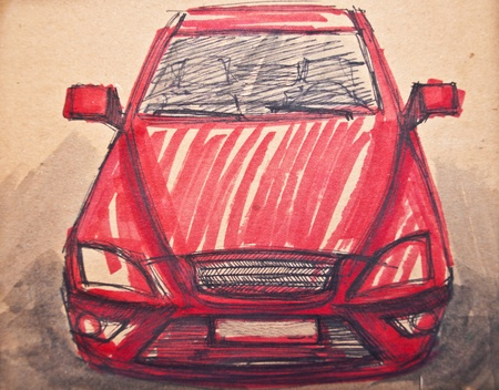 Red sports car sketch Stock Photo - 11388234
