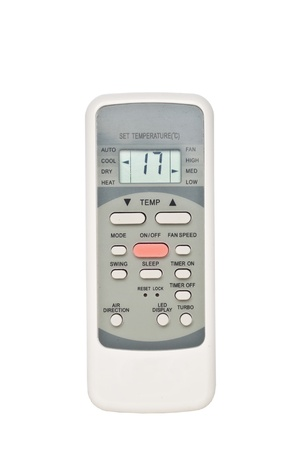 Air conditioner remote control isolated on white background photo