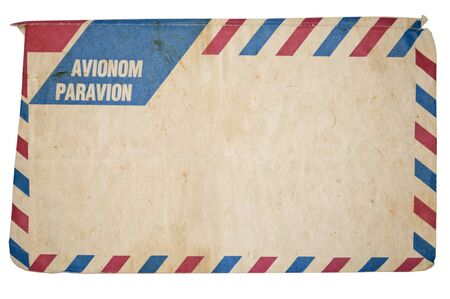 Air mail vintage envelope isolated on white background photo