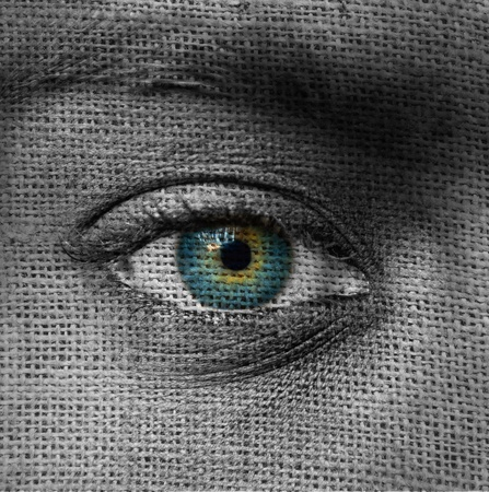 Blue eye on canvas pattern  photo