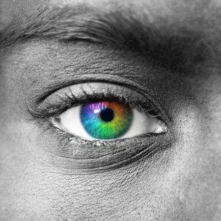 Kleurrijke eye extreme close-up Stockfoto