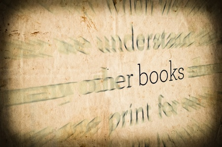Grunge background with word BOOKS in center photo