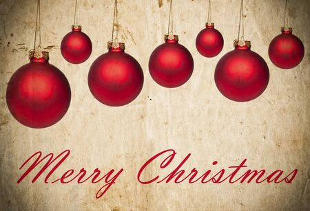 Grunge Christmas background with red Christmas ornaments photo