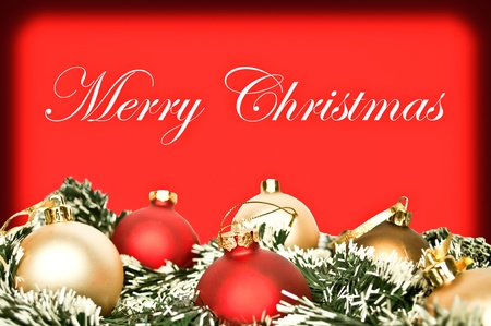 Elegant Christmas background with red and golden ornamnets photo