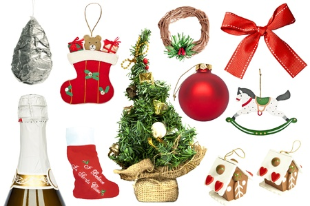 Set of various Christmas ornaments and objects photo