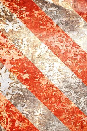 earthy: Grunge rusted metal background with red stripes Stock Photo