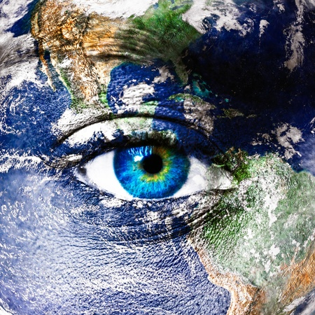 eyes: Planeet aarde en het menselijk oog Stockfoto