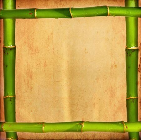 Bamboo frame on grunge paper photo