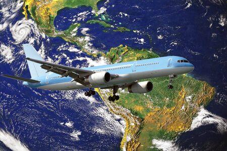 circling: Airplane circling the globe - Travel concept