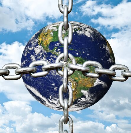 Planet earth with chain photo
