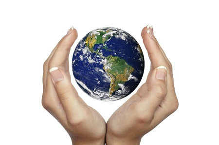 protection of land: Hands holding planet Earth isolated on white