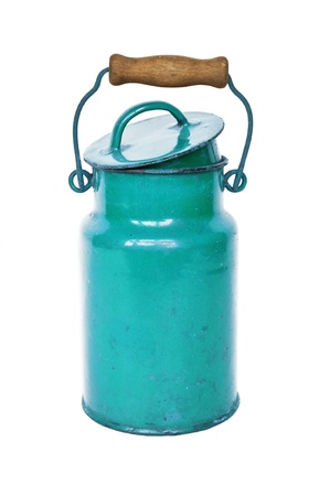 Antique blue milk can isolated on white background photo