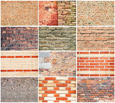Various types of brick walls  photo