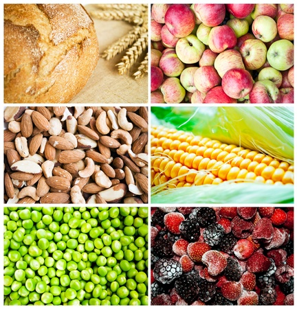 Colorful healthy food collage photo