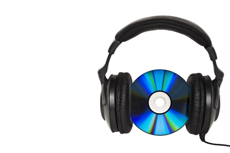 Headphones with CD - Music concept  photo