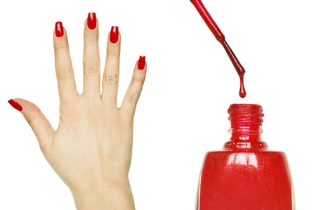 clean hands: Manicure set - Beautiful red manicured woman hand and nail polish
