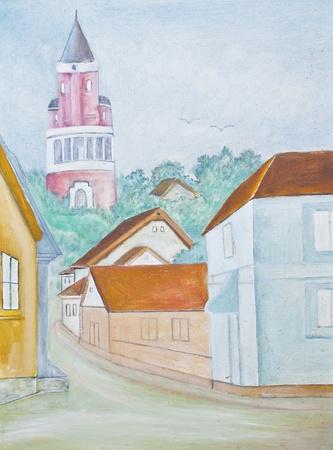 little town: Little town - original watercolor painting