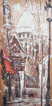 Paris watercolor painting  photo