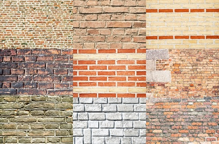 Set of various types of brick walls  photo