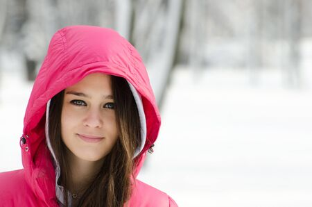 Happy winter girl portrait photo