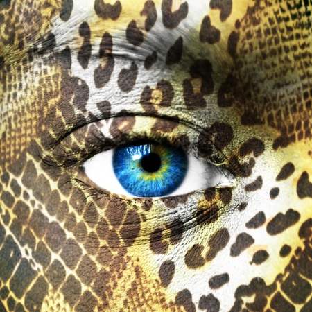 Human face with animal patterns Stock Photo