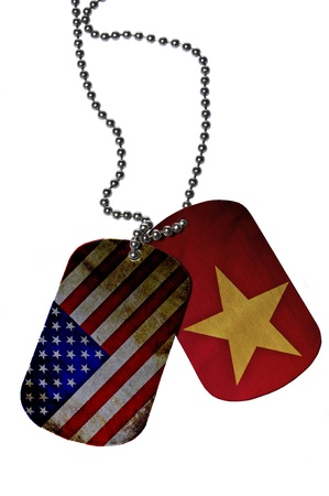 Army ID tags with flags of USA and Veitnam photo