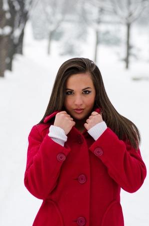 Beautiful woman in red coat in winter Stock Photo - 12364106
