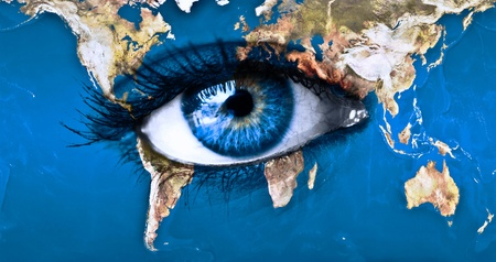 Planet earth and blue eye  photo