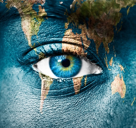 futuristic eye: Planet Earth and human eye Stock Photo