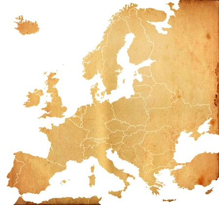 cartographer: Grunge Europe map with old paper pattern isolated on white