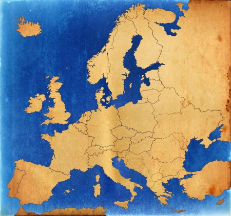 Grunge Europe map photo
