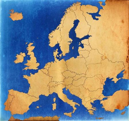 mapa de europa: Grunge mapa de Europa Foto de archivo