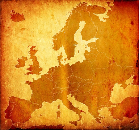 mapa europa: Grunge mapa de Europa Foto de archivo
