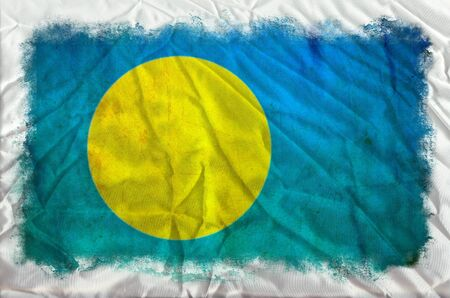 Palau grunge flag photo