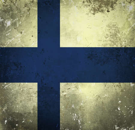 Grunge flag of Finland photo