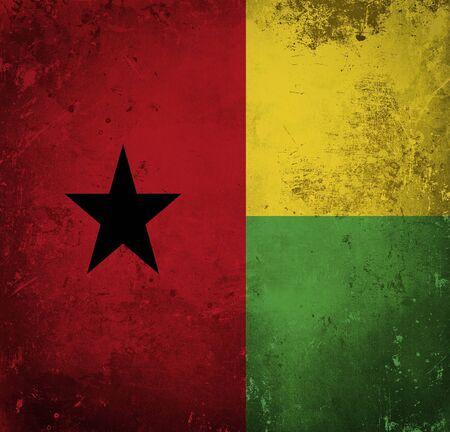 guinea bissau: Grunge flag of Guinea Bissau Stock Photo