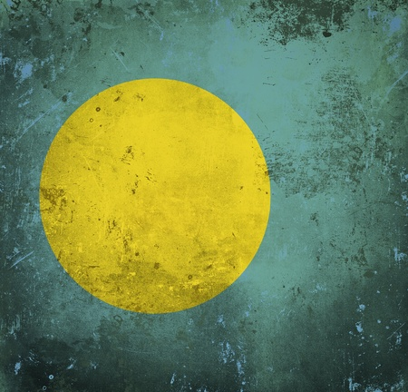 Grunge flag of Palau photo